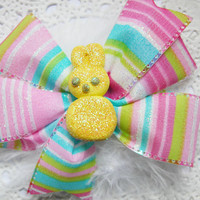 Easter Hair Bow Kawii Yellow Peeps Medium Hair Bow for Girls Teens and Adults Kawaii Fashion