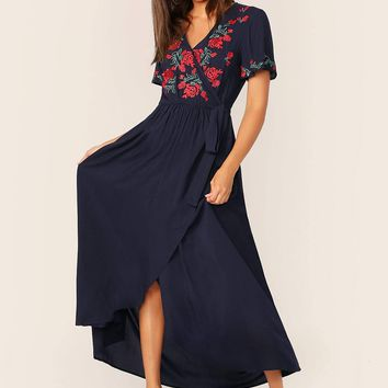 Embroidery Floral Self Tie Wrap Dress