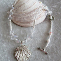 Lovely and Feminine Seashell/Snowflake Pendant Diva Necklace - Crystals and Czech Beads - Feminine - Cruise - Holidays - Gift Item