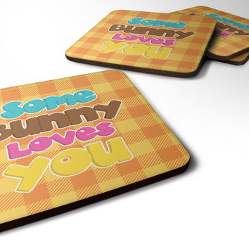 Easter Some Bunny Loves You Foam Coaster Set of 4 BB6902FC