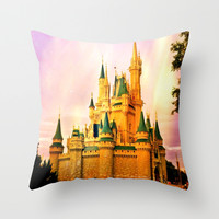 Disney Castle: Magic Throw Pillow by Abigail Ann