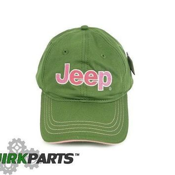 ESBON3F BRAND NEW GREEN AND PINK ADJUSTABLE JEEP HAT CAP ONE SIZE FITS MOST