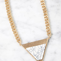 Faux Stone Triangle Pendant Necklace