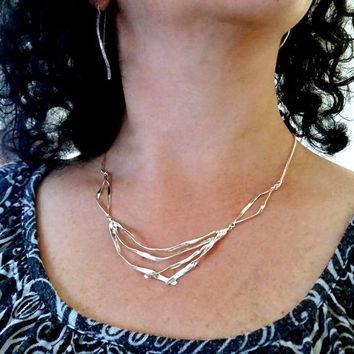 Silver statement necklace, sterling silver, handmade jewelry, unique necklace, silver necklace, gift for her, bridal necklace, geometric