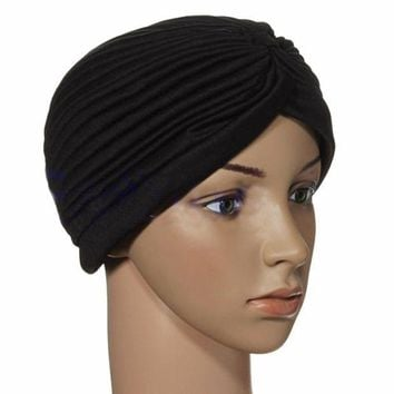 PEAPUNT Indian Cap Pleated Headwrap Turban Stretchy Band Hats for Women Cloche Chemo Hijab Beanies NEW