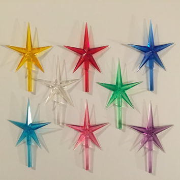 "Modern Large Star Tree Toppers 9 Colors 4"" High 2.5"" Wide Ceramic Christmas Tree Replacements 3/16"" Peg Stem Pointed Stars"