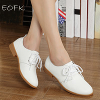 EOFK Leather Oxford Shoes For Women 6 Color Lace Up Blue White Shoes Woman Flats Women Loafer Female Shoes