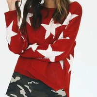 Red Star Pattern Knit Sweater