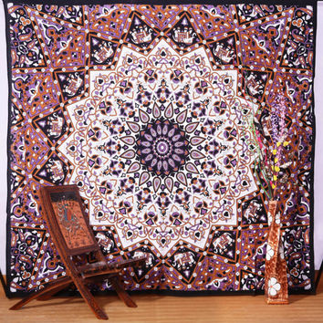 Large Psychedelic Star Mandala Tapestry Wall Hanging, Hippie Indian Wall Tapestries, Bohemian Boho Ethnic Dorm Décor Bedspread Beach Throw