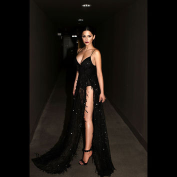 Prom Dress Sexy Backless Black Spaghetti Strap Split One Piece Dress [9344407108]