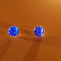 Glow in the Dark Blue Stud Earrings - Rose Flower -