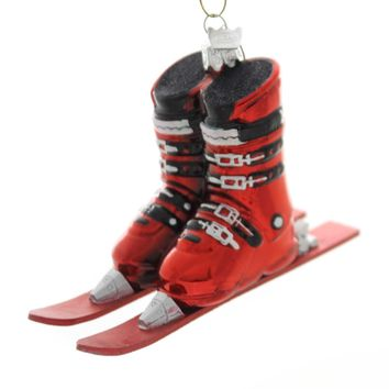 Noble Gems SKI BOOTS WITH SKIS Glass Winter Sport Nb1016 Red