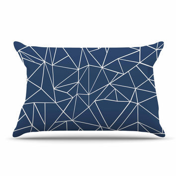 "Project M ""Abstraction Outline Navy"" Blue Abstract Pillow Case"