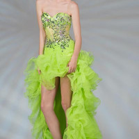 PRIMA C13858 Neon Green High Low Prom Dress