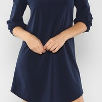 Navy Solid Tunic Dress