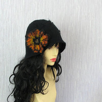 Felted Hat Cloche Hat BLACK Flapper hat Women Hat Flapper Hat Felt hat cloche hat CLOCHE felted hat Jazz Hat Unique fancy felted hat OOAK