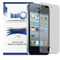 Halo Screen Protector Film Clear Matte (Anti-Glare) for Apple iPhone 4G 4S 4(3 Screen Protectors and 1 Micro-Fiber Cleaning Cloth)