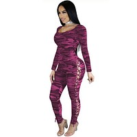 Women Sexy Camouflage Lace Up Long Sleeve Fashion Jumpsuit