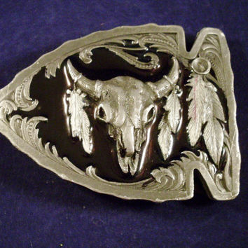 Siskiyou Arrowhead Shaped Pewter Belt Buckle with Longhorn Skull