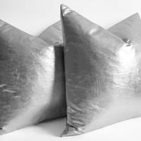 12 14 16 18 20 22 24 26 Pillow Covers Metallic SIlver - gold and silver pillow - euro pillows - european pillow covers - silver throw pillow