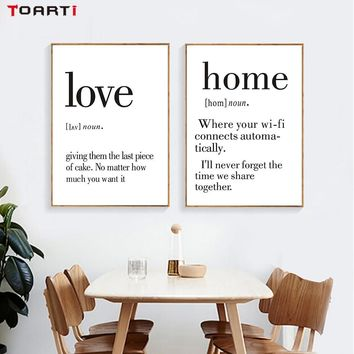 Nordic Minimalist Family Dad Mother Quotes Canvas Painting Wall Art Posters Wall Pictures For Living Room Home Decor