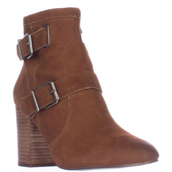 Vince Camuto Simlee Block Heel Ankle Boots - Whiskey Brown