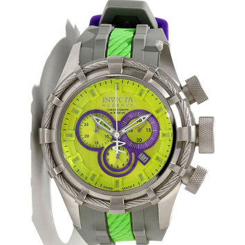 Invicta 10964 Men's Reserve Bolt Sport Lime Green Dial Grey Rubber Strap Chronograph Dive Watch