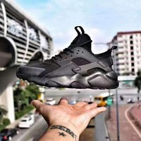 Nike Air Huarache 4 ALL BALCK Men and Women running shoes 36-46