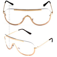 HUGE OVERSIZED VINTAGE SHIELD Style Clear Lens EYE GLASSES Gold Metal Frame