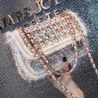 Colorful Pearl Crossbody Bags For Women 2018 Winter Tweed Wool Bags Small Designer Handbags Chains Female Messenger Bags Knit