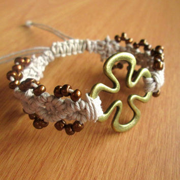 Shamrock Cuff Bracelet Four Leaf Clover Jewelry Hemp Bracelet St. Patricks Day Irish Jewelry