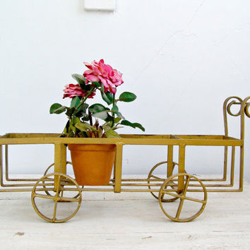Rustic Metal Pot stand, Gold compartments Crate, Plant Holder, Indoor Garden, Vintage Cart Planter, Cottage chic, Spring