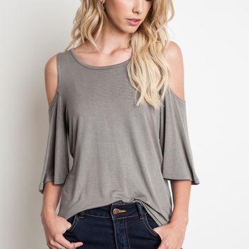 This soft jersey knit top features a round neckline, short sleeves with cold shoulder cutout.
