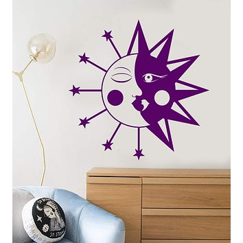Vinyl Wall Decal Geometric Moon Sun Stars Art Decor For Nursery Stickers Unique Gift (1282ig)