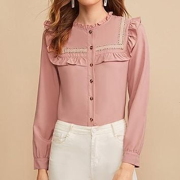 Pink Embroidered Tape Panel Ruffle Trim Button Front Cute Blouse Shirt Women Tops Long Sleeve Elegant Blouses