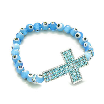 Amulet Evil Eye Protection Magic Cross Charm Spiritual Powers Bracelet Sky Blue Glass Cute Crystals Beads