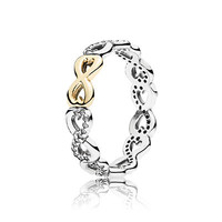 Gold love Rings Compatible with Pandora Jewelry Sparkling bow