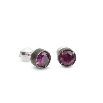 Silver Rhodolite Earring with Black Rhodium Surface