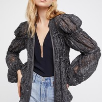 Free People Ruched Lace Jacket
