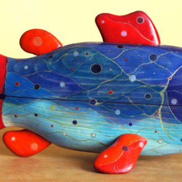 Wooden fish sculpture, jewelry box, colorful sculpture, animal sculpture, wooden art box, home decor, gift.