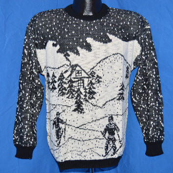 90s Ski Snow Scene Intarsia Black and White Sweater Medium