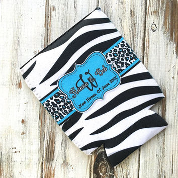Zebra wedding favor, Customizable animal print favor bottle coolie, Blue wedding colors, cheetah can cozy, Personalized wedding favor (1012)