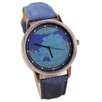 Womens Girls World Sport Casual Denim Strap Watch Christmas Gift