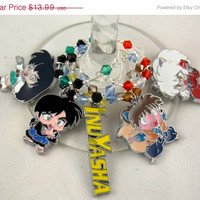 InuYasha inspired wine glass charms set of 5 anime charms handmade wine charms party chibi JPOP wine charms