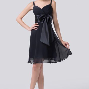 Black V-Neck  Bow Tie Lace Up Back Chiffon Homecoming Dress