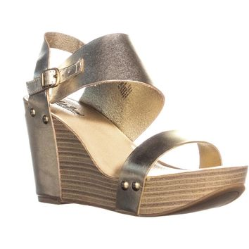 Lucky Brand Marleighh Ankle Strap Wedge Sandals, Platinum, 8.5 US / 38.5 EU