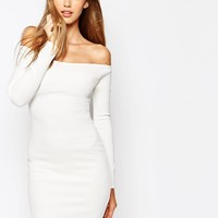 Missguided Off The Shoulder White Bodycon Dress