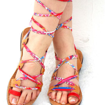 "Colurful Sandals, lace up Sandals, Ancient Greek Sandal, barefoot, Geniun leather shoes, ""Happy Red"" Summer shoes Valentine's gift for women"