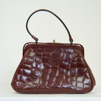 Vintage BNWOT Carriage Collection womens handbag brown leather croc snakeskin effect ladies