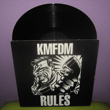 "Vinyl Record KMFDM - Rules 12"" Maxi 3 Track Single LP 1990s Industrial Rock WaxTrax"